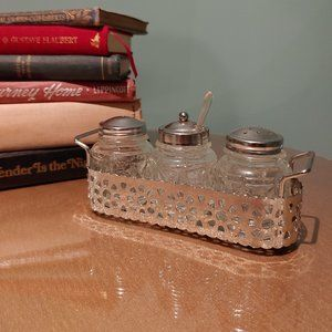 Vintage Salt and Pepper Shakers with Sugar Dish